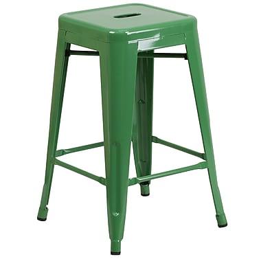 Flash Furniture – Tabouret de comptoir de 24 po en métal sans dossier, int/ext, siège carré, fini vert, 4/bte (CH3132024GN)