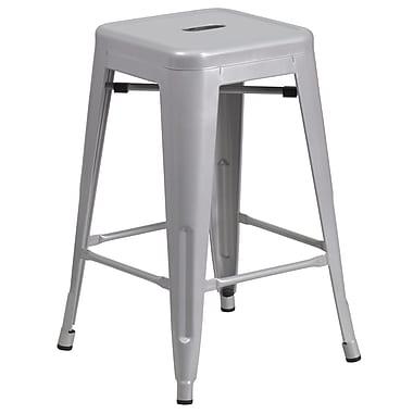 Flash Furniture – Tabouret de comptoir en acier de 24 po à siège carré et sans dossier, int/ext, argenté, 4/bt (CH3132024SIL)