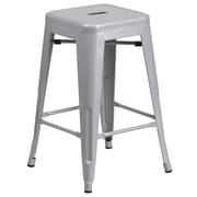 Flash Furniture 24'' High Backless Metal Indoor-Outdoor Counter Height Stool with Square Seat, Silver, 4/Box (CH3132024SIL)