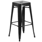 Flash Furniture 30''H Backless Black Metal Indoor/Outdoor Barstool, Square Seat (CH3132030BK)