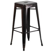 Flash Furniture 30'' High Backless Metal Indoor/Outdoor Barstool, Black/Antique Gold with Square Seat (CH3132030BQ)
