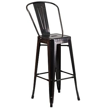 Flash Furniture 30''H Metal Indoor/Outdoor Barstool, Black/Antique Gold (CH3132030GBBQ)
