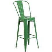 "Flash Furniture 30.25"" High Metal Indoor-Outdoor Barstool, Green Powder Coat Finish, 4/Box (CH3132030GBGN)"