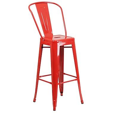 Flash Furniture – Tabouret bistro de 30 po en métal pour l'intérieur et l'extérieur, rouge (CH3132030GBRED)