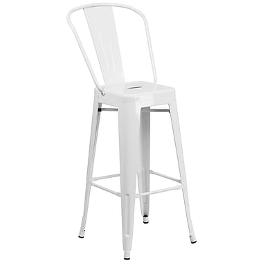 Flash Furniture 30'' High White Metal Indoor/Outdoor Barstool (CH3132030GBWH)