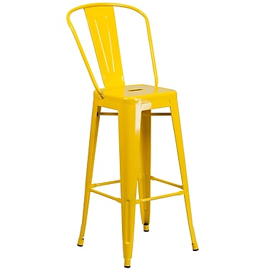 Flash Furniture – Tabouret bistro de 30 po en métal pour l'intérieur et l'extérieur, jaune (CH3132030GBYL)