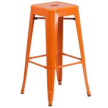 Flash Furniture – Tabouret bistro de 30 po en métal sans dossier, intérieur/extérieur, siège carré, orange (CH3132030OR)