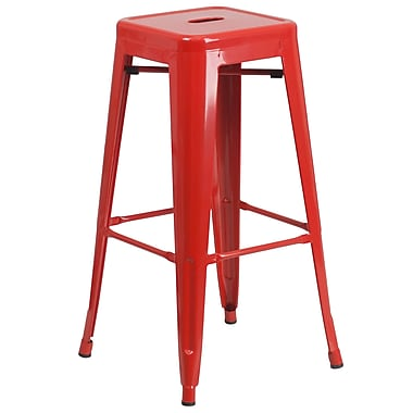 Flash Furniture – Tabouret de bar en acier de 30 po à siège carré et sans dossier, int/ext, rouge (CH3132030RED)