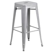 Flash Furniture 30'' High Backless Silver Metal Indoor-Outdoor Barstool with Square Seat, 4/Box (CH3132030SIL)