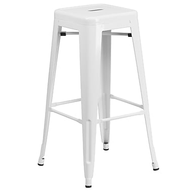 Flash Furniture 30''H Backless White Metal Indoor/Outdoor Barstool with Square Seat (CH3132030WH)