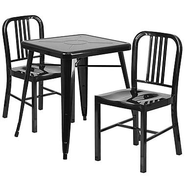 Flash Furniture – Ensemble table et 2 tabourets à dossier, intérieur/extérieur, métal, noir (CH31330218BK)