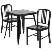 Flash Furniture Metal Indoor-Outdoor Table Set with 2 Vertical Slat Back Chairs, Black (CH31330218BK)