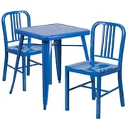 "Flash Furniture 27.75"" Metal Indoor-Outdoor Table Set with 2 Vertical Slat Back Chairs, Blue (CH31330218BL)"