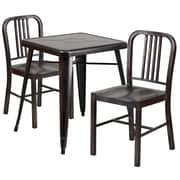 Flash Furniture Metal Indoor-Outdoor Table Set with 2 Vertical Slat Back Chairs, Black and Antique Gold (CH31330218BQ)