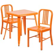 Flash Furniture Metal Indoor/Outdoor Table Set with 2 Vertical-Slat-Back Chairs, Orange (CH31330218OR)