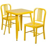 Flash Furniture Metal Indoor/Outdoor Table Set with 2 Vertical-Slat-Back Chairs, Yellow (CH31330218YL)