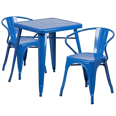 Flash Furniture Metal Indoor/Outdoor Table Set with 2 Arm Chairs, Blue (CH31330270BL)