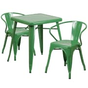 Flash Furniture Metal Indoor/Outdoor Table Set, Green with 2 Arm Chairs (CH31330270GN)