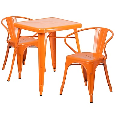 Flash Furniture Orange Metal Indoor-Outdoor Table Set with 2 Arm Chairs (CH31330270OR)