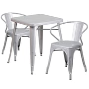 Flash Furniture Metal Indoor/Outdoor Table Set with 2 Arm Chairs, Silver (CH31330270SIL)