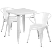 Flash Furniture Metal Indoor/Outdoor Table Set with 2 Arm Chairs, White (CH31330270WH)