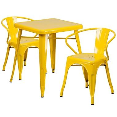 Flash Furniture – Ensemble avec table et 2 sièges à bras ajourés, intérieur/extérieur, métal, jaune (CH31330270YL)