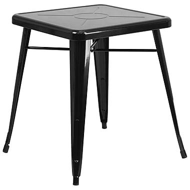 Flash Furniture – Petite table carrée en métal de 24 po pour intérieur/extérieur, noir (CH3133029BK)