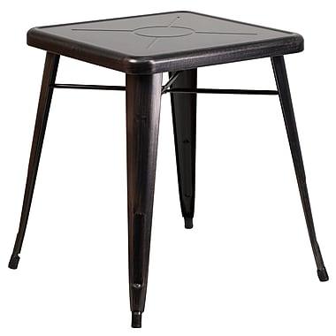 Flash Furniture – Petite table carrée en métal de 24 po pour intérieur/extérieur, noir/or patiné (CH3133029BQ)