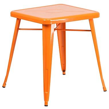 Flash Furniture – Petite table carrée en métal de 24 po pour intérieur/extérieur, orange (CH3133029OR)