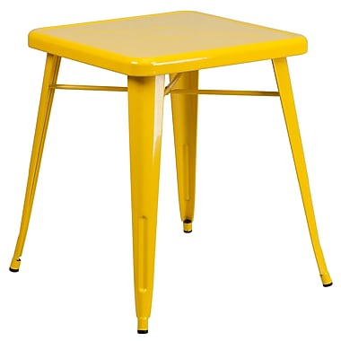 Flash Furniture 24'' Square Metal Indoor/Outdoor Table, Yellow (CH3133029YL)
