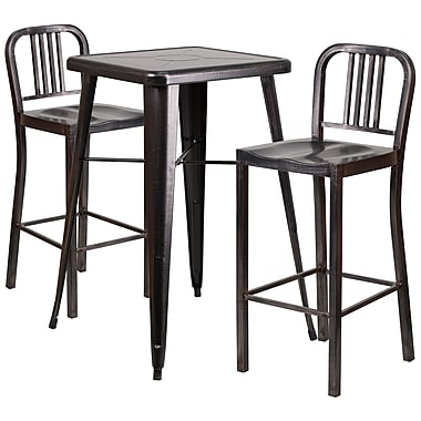 Flash Furniture Metal Indoor/Outdoor Bar Table Set with 2 Vertical-Slat-Back Barstools, Black/Antique Gold (CH31330B230BQ)