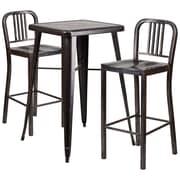 Flash Furniture Metal Indoor/Outdoor Bar Table Set with 2 Vertical-Slat-Back Barstools, Black/Antique Gold (CH31330B230BQ)