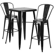 Flash Furniture Metal Indoor/Outdoor Bar Table Set with 2 Barstools, Black (CH31330B230GBBK)