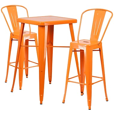 Flash Furniture Metal Indoor/Outdoor Bar Table Set with 2 Barstools, Orange (CH31330B230GBOR)