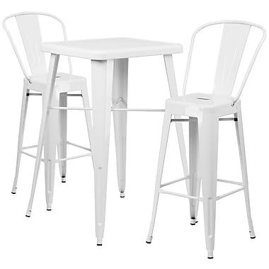 Flash Furniture – Ensemble avec table bistro et 2 tabourets, intérieur/extérieur, métal, blanc (CH31330B230GBWH)