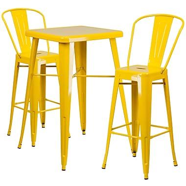 Flash Furniture – Ensemble avec table bistro et 2 tabourets, intérieur/extérieur, métal, jaune (CH31330B230GBYL)