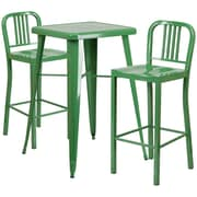 "Flash Furniture 27.75"" Metal Indoor-Outdoor Bar Table Set with 2 Vertical Slat Back Barstools, Green (CH31330B230GN)"
