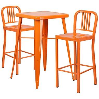 Flash Furniture – Ensemble table bistro et 2 tabourets à dossier, intérieur/extérieur, métal, orange (CH31330B230OU)
