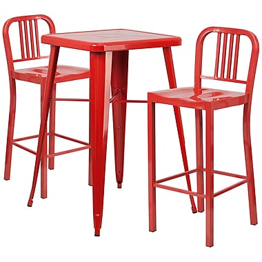 Flash Furniture Metal Indoor/Outdoor Bar Table Set, 2 Vertical Slat-Back Barstools, Red (CH31330B230RD)