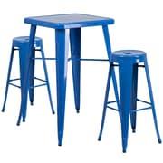 Flash Furniture – Ensemble avec table bistro et 2 tabourets sans dossier, int/ext, métal, bleu (CH31330B230RDBL)