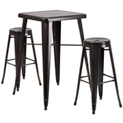 "Flash Furniture 27.75"" Metal Indoor-Outdoor Bar Table Set with 2 Backless Barstools in Black-Antique Gold (CH31330B230RDBQ)"