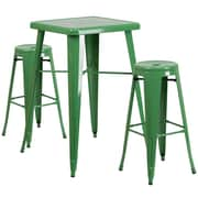 Flash Furniture Metal Indoor/Outdoor Bar Table Set with 2 Backless Barstools, Green (CH31330B230RDGN)