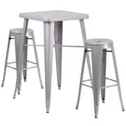 "Flash Furniture 27.75"" Metal Indoor-Outdoor Bar Table Set in Silver with 2 Backless Barstools (CH31330B230RDSV)"