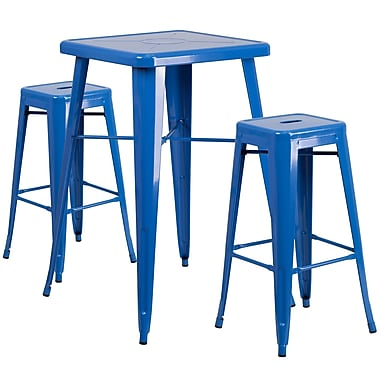 Flash Furniture – Ensemble avec table bistro et 2 tabourets sans dossier, int/ext, métal, bleu (CH31330B230SQBL)