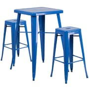 Flash Furniture – Ensemble avec table bistro et 2 tabourets sans dossier, int/ext, métal, bleu (CH31330B230SQBL)