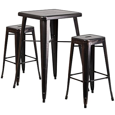 Flash Furniture – Ensemble table bistro et 2 tabourets sans dossier, int/ext, métal noir/or patiné (CH31330B230SQBQ)