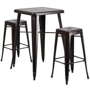 Flash Furniture Metal Indoor/Outdoor Bar Table Set with 2 Backless Barstools, Black/Antique Gold (CH31330B230SQBQ)