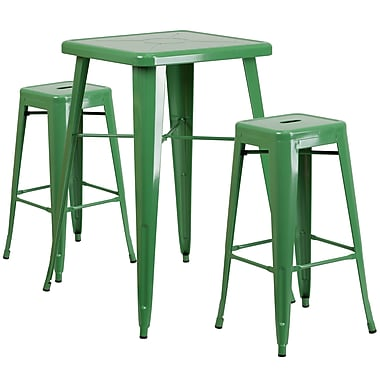 Flash Furniture – Ensemble table bistro de 27,75 po et 2 tabourets sans dossier, int/ext, métal, vert (CH31330B230SQGN)