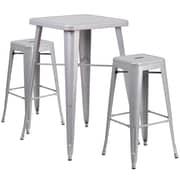 Flash Furniture – Ensemble avec table bistro et 2 tabourets sans dossier, int/ext, métal, argenté (CH31330B230SQSV)