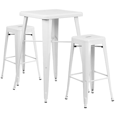 Flash Furniture Metal Indoor-Outdoor Bar Table Set with 2 Backless Barstools in White (CH31330B230SQWH)